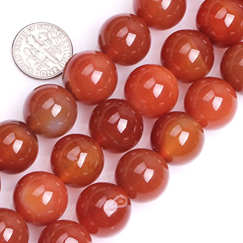 GEM-inside Carnelian Red Agate Gemstone Stone Crystal Quartz Loose Beads Natural 16mm Round Stone Agate Beads For Jewelry Making Beads Strand 23-25 Pcs At 15 Inches