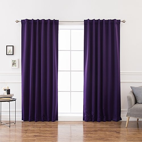 - Best Home Fashion Basic Thermal Insulated Blackout Curtains - Back Tab/Rod Pocket - Purple - 52