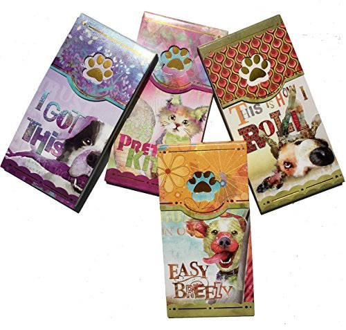 Good Dog by Connie Haley Set of 4 Assorted Whimsical Window Pocket Notepads, Gold Foil, 3 Dogs 1 Kitty Cat Kitty Notepad