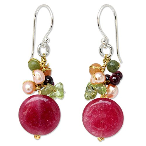 NOVICA Multi-gem Dyed Cultured Freshwater Pearl Sterling Silver Cluster Earrings, Thai Joy'