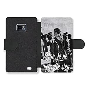 Non Je ne Regrette Rien, Piaf France Paris Kiss Black and White Inspirational Retro Funda Cuero Sintético para Samsung Galaxy S2