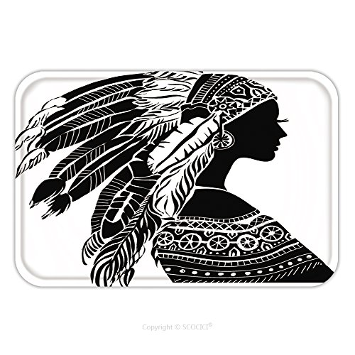 Aladdin Rug Costume (Flannel Microfiber Non-slip Rubber Backing Soft Absorbent Doormat Mat Rug Carpet Young Woman In Costume Of American Indian Silhouette Of Beautiful Indian Women 215508190 for Indoor/Outdoor/Bathroom/Ki)