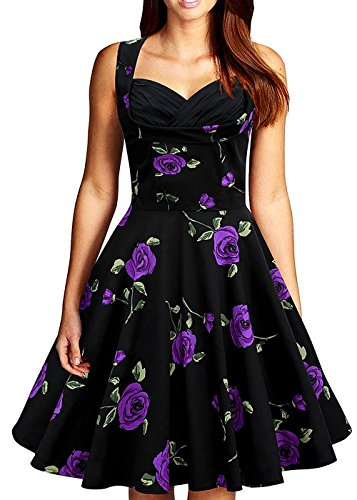 [Women Vintage Floral Print Party V Neck Sleeveless Swing Dress Cocktail Dress] (Cherry Apple Costumes)