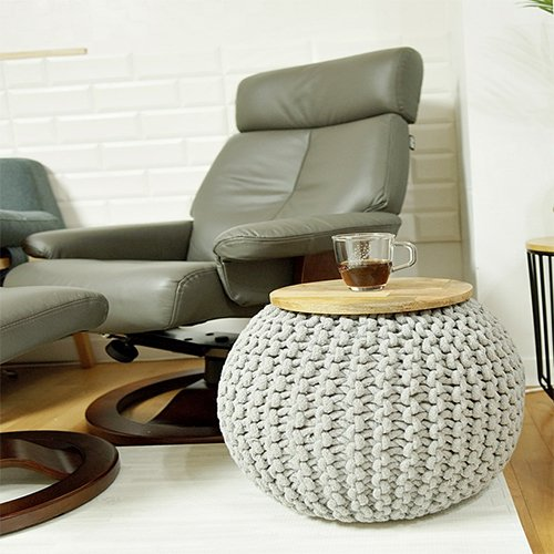 CNC Washable Cover Knit Pouf With Wooden Top Table, Home Decoration, Side Table by CrossCrown (Image #6)