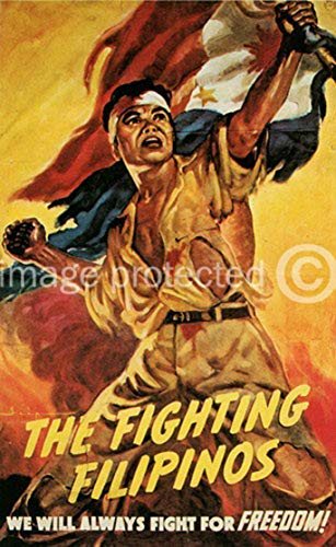 AGS - The Fighting Filipinos Vintage World War II Two WW2 WWII USA Military Propaganda Poster - 24x36