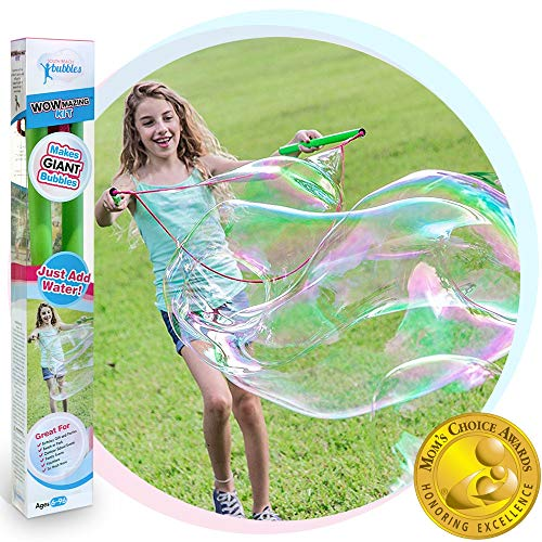 WOWMAZING Giant Bubble Wands Kit: (3-Piece Set) | Incl. Wand, Big Bubble Concentrate and Tips & Trick Booklet | Outdoor Toy for Kids, Boys, Girls | Bubbles Made in The -