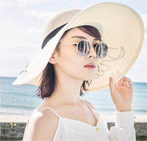 Tmrow 1pc Straw Hat Beach Vacation Beach Hat Sun Visor White by Tmrow