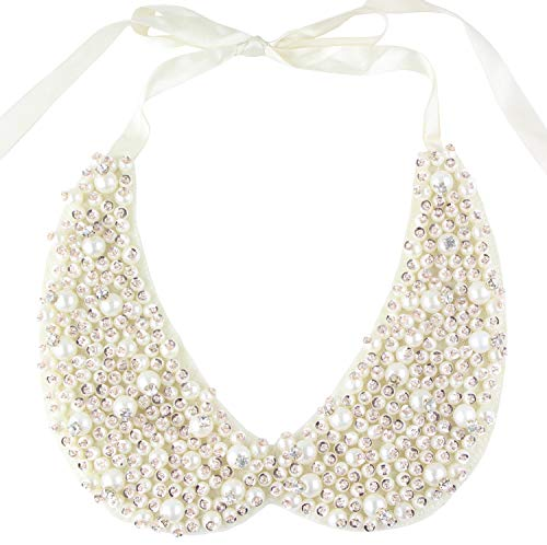 - Mural Art Detachable Faux Pearls Sequins Clear Rhinestones False Collar Necklace