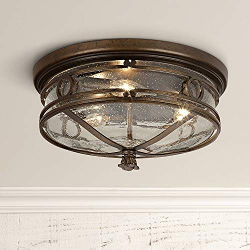 "Beverly Drive Rustic Outdoor Ceiling Light Fixture Bronze 14"" Flush Mount Clear Seedy Glass for Exterior Porch Entryway Patio Deck Lighting - John Timberland"