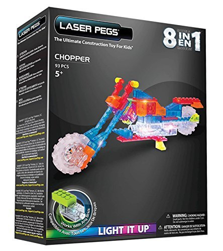 Laser Pegs 8-in-1 Chopper Motorcycle Building Set (Mini Chopper Kids)
