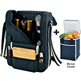 wine and cheese cooler tote - Picnic at Ascot Original Wine and Cheese Tote for 2 with Matching Cooler - Designed & Assembled in California - Navy