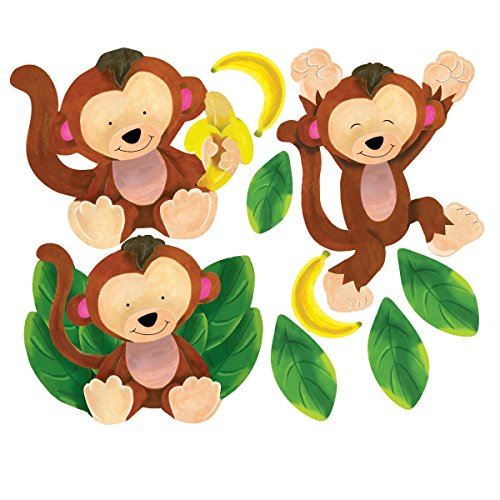 Cheap  Wallies Wall Decals, Baby Monkeys Wall Stickers, Set of 4
