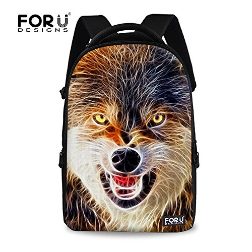 FOR U DESIGNS Stylish Eyes Grabber Wild Wolf Cool Animal Pattern Shoulder Book Bag Casual Outdoor Travel Back pack
