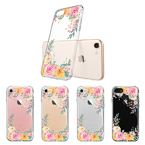 iPhone 7 Case, iPhone 8 Case, iPhone 7 Cases for Girls, MOSNOVO Pink Rose Flower Floral Printed Clear Design Back Case with TPU Bumper Gel Protective Cover for iPhone 7 (2016) / iPhone 8 (2017)