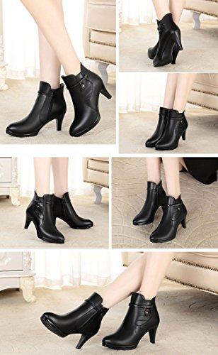 Honeystore Damen Stiefeletten High Heels Spitze Stiletto Ankle Boots mit Reißverschluss Schnalle 7cm Absatz Elegante Schuhe Schwarz