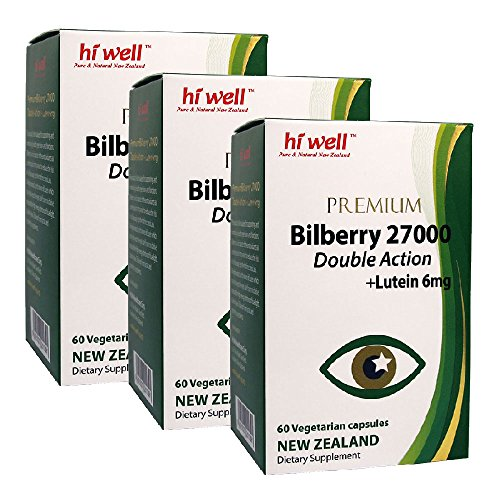 Hi Well Premium Bilberry 27000mg + Lutein 6mg Double Action 60 Vegetarian Capsules (Pack of 3) by Hi Well