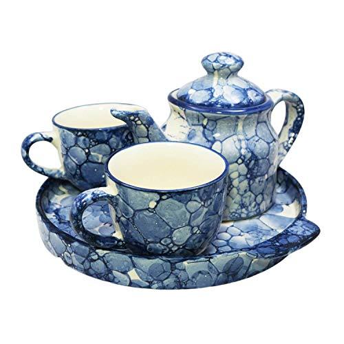 Lasaki Ceramic Kettle Set | Morning Tea Set | 1 Kettle | 1 Tray | Tea Cup 2 Piece Heat Resistant (Abstract) Price & Reviews