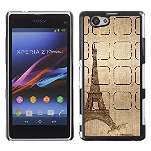 PC/Aluminum Funda Carcasa protectora para Sony Xperia Z1 Compact D5503 Tower Sketch Brown Pencil Paris / JUSTGO PHONE PROTECTOR