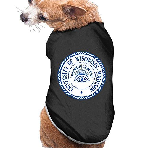 Numen Lumen University Wisconsin Summer Costumes, Clothing, Shirt, Vest, T-shirt, Puppy Pet Dog Cat Fashion 100% Polyester Fiber Tee Gift For Any Animal Fan Lovers Black Large