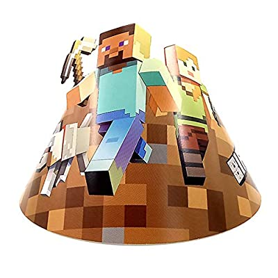 Wenhsin 6 Packs Minecraft Birthday Party Hats For Children`s Birthday Funny Party Decoration Minecraft Birthday Party Event for Kids