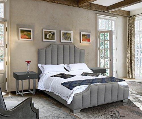 - Armen Living LCCTBEGR Camelot Bed, Queen, Gray Fabric
