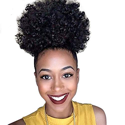 Deyngs Ponytail African American Short Afro Kinky Curly Wrap Synthetic Drawstring Puff Ponytail (Black-1B)