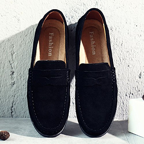 VILOCY Men's Casual Suede Slip On Driving Moccasins Penny Loafers Flat Boat Shoes Black,45 by VILOCY (Image #7)