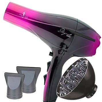Secador de Pelo Profesional Ligero Potente Elegant Iónico 2000W Rosa (Pink) con Difusor - My Hair: Amazon.es: Belleza