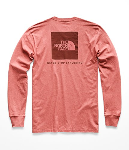 The North Face Men's L & S Red Box Tee - Faded Rose Heather & Sequoia Red - L by The North Face (Image #2)