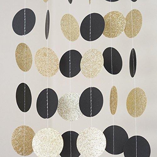 3-Pack-Circle-Dots-Paper-Garland-SKYLOVE-Gold-and-Black-Paper-Circles-Garland-Wedding-Garland-Baby-Shower-Garland-Photo-Prop-Bridal-Shower-Shabby-Chic-197-inch-in-Diameter-8-Feet