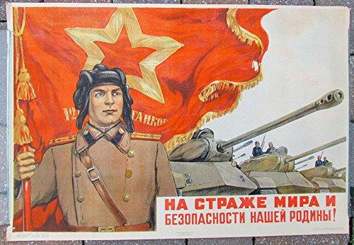(1951 RUSSIAN SOVIET KGB BORDER GUARD MILITARY PROPAGANDA POSTER)