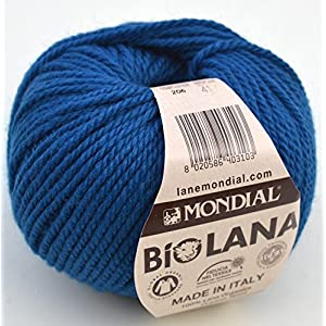 50 grammi Lane Mondial Bio Lana, col. 206 - blu cosmo, lana biologica, maglieria, uncinetto, confezione da 20 pezzi 1 spesavip