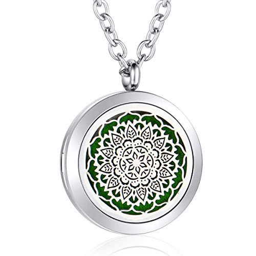 AZORA Aromatherapy Essential Oil Diffuser Necklace Stainless Steel Locket Pendant Jewelry for Women Girls Boys Kids Christmas Gift (flower diffuser locket)