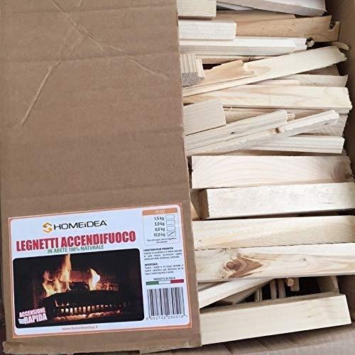 Home Idea Italia-Confezione risparmio 1 cartone di legnetti accendifuoco in abete da 10 Kg
