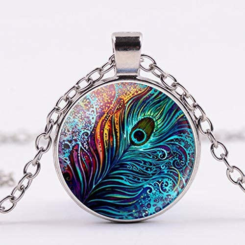 Inveroo Vintage Peacock Feather Ethnic Necklace Abstract Ambilight Feathers Round Glass Gem Pendant Art Nouveau Chain Necklace