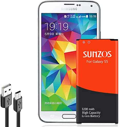 Galaxy S5 Battery, SUNZOS 3200mAh Li-ion Replacement Battery for Samsung Galaxy S5/S5 Active [ I9600, G900F, G900V ( Verizon) , G900T ( T-Mobile ), G900A ( AT&T ),G900P(Sprint)] [3 Years Warranty]