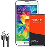 SUNZOS Galaxy S5 Battery, 3200mAh Li-ion Replacement Battery for Samsung Galaxy S5 [ I9600, G900F, G900V (Verizon), G900T (T-Mobile), G900A (at&T),G900P(Sprint)] [3 Years Warranty]