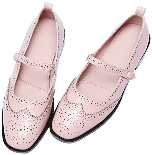 Scarpe U-lite Traforate Alari Con Borchie Vintage Con Chiusura A Scatto In Pelle Piatta Mary Jane Flats Shoes Rosa