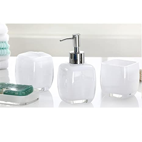 Plexiglass Bagno Accessori Set Di 4 Bianco Nero White Amazon It