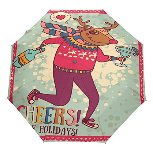 One Funny Car Tree (Wamika Funny Christmas Reindeer Auto Umbrella Open Close Windproof Travel Xmas Elk Deer Umbrella Lightweight Compact Parasol Umbrellas Sun & Rain)