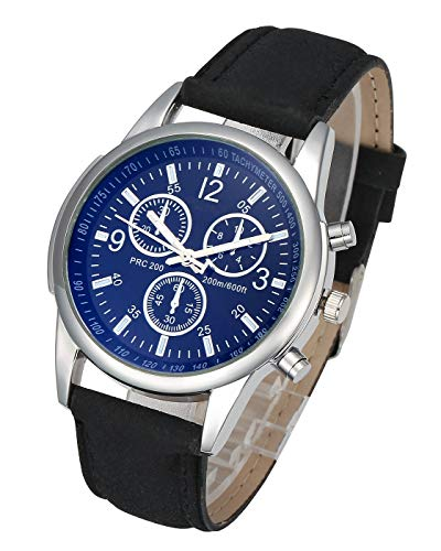 Top Plaza Mens Classic Leather Wrist Watch Casual Big Face Arabic Numerals Silver Case Analog Quartz Business Dress Watches - Black #2