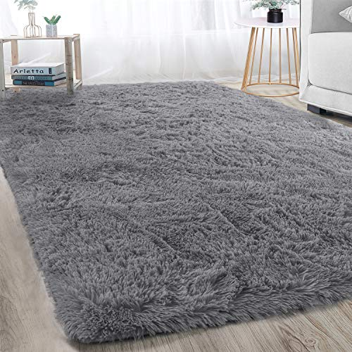 Super Soft Large Shaggy Fur Area Rug Grey for Bedroom Dorm Nursery Kids Boys Room, Modern Indoor Home Decorative Livingroom Carpet Plush Fluffy Comfy Accent Floor Rugs 4x6 Feet
