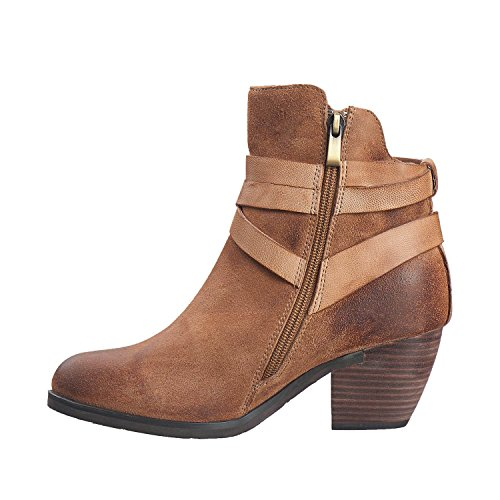 Antelope Womens 603 Suede Gillie Wrap Bootie Taupe