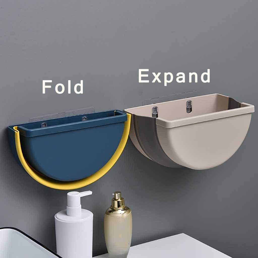 Rooms Dormitories Drawers Can be Used for Closet Doors bedrooms 4L Beige Offices Cars Portable Without Lid Kitchen Hanging Waste Bin for Wet and Dry Separation KLVOE Folding Waste Bin