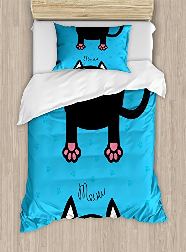 Ambesonne Kawaii Duvet Cover Set Twin Size, Kawaii Style Hanging Fat Cat Body with Paws and Round Kitten Pet Face Cartoon, Decorative 2 Piece Bedding Set with 1 Pillow Sham, Black Pink Blue