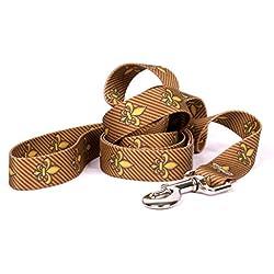 "Yellow Dog Design Fleur De Lis Gold Dog Leash 3/4"" Wide and 5' (60"") Long, Small/Medium"