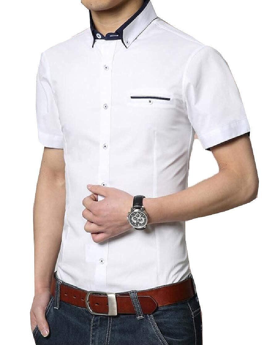 Alion Men Fashion Short Sleeve Button Down Shirt Denim Jean Shirt