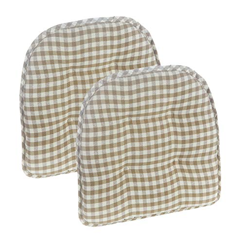 "Klear Vu Gingham Tufted No Slip Dining Chair Pad, Set of 2 Cushions, 16"" x 15"", Natural"