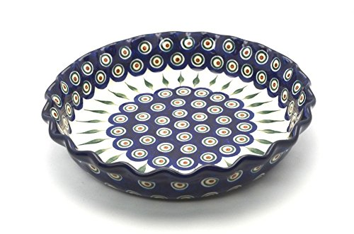 Polish Pottery Baker - Pie Dish - Fluted - Peacock
