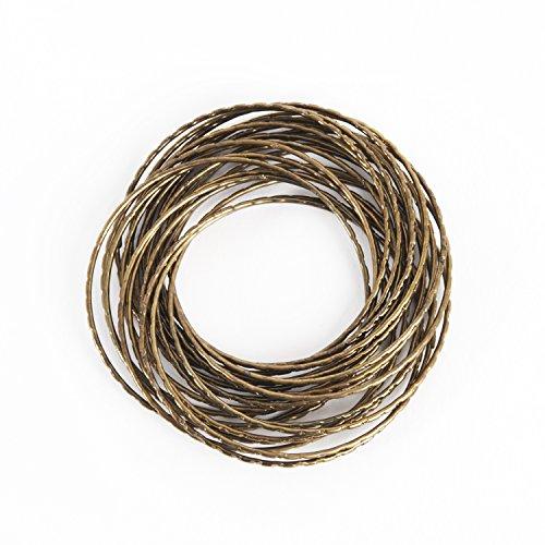 SARO LIFESTYLE Sparkles Collection Gold Shimmer Bangle Design Metal Napkin Ring, 2.5